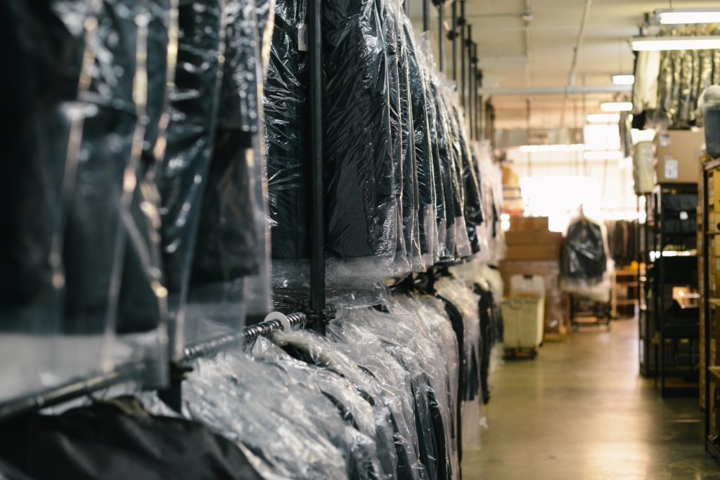 Warehouse with suits