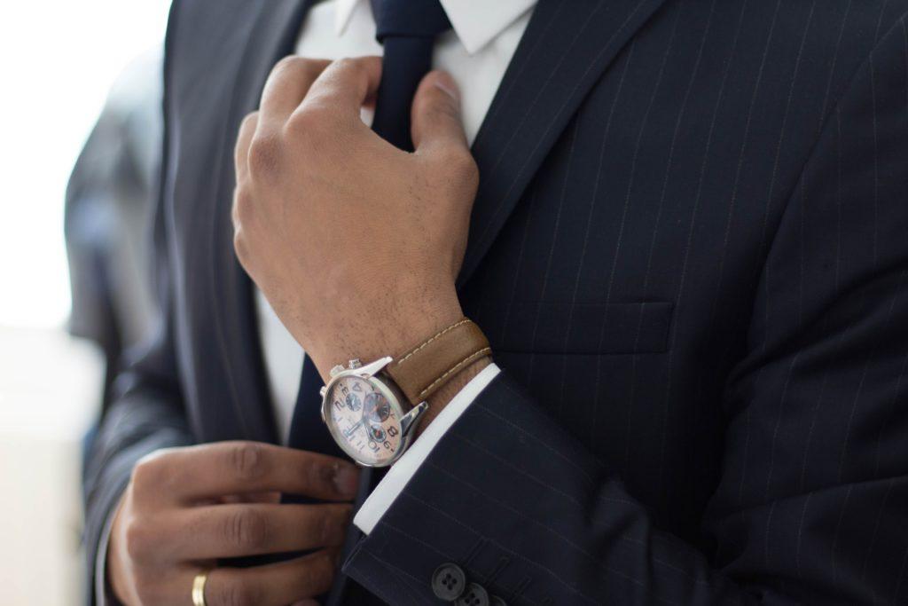 Man wearing pinstripe suit