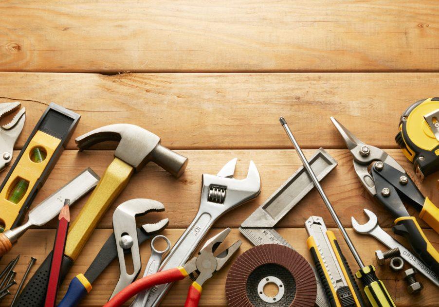 Tools on wood planks
